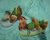 Lake-blue background with Embroidery of Mandarin Duck & Flower Basket Silk Pillow Case (1 Pair)