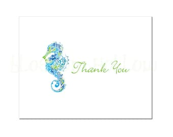 Print-It-Yourself Seahorse Thank You Card and Envelope