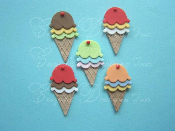 Ice Cream Cake Edible Image : Edible Cupcake Topper Fondant ICE CREAM CONES 3 by ...