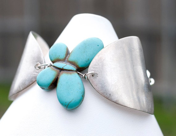 Antique Spoon Bracelet with Magnesite Butterfly