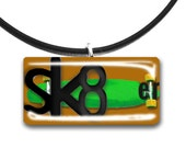 Skate boarder, Glass tile pendant, handmade, green and brown, sk8ter, color choices