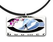 pink flower, Surfer pendant, retro surf art, glass tile pendant, boomer, surfer