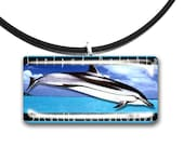 Dolphin pendant, rectangle tile, ocean life, Aquatic, teal, blue, Island style, glass tile pendant, turquoise waters