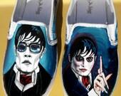 Johnny Depp Dark Shadows Vampire Custom Painted Shoes Barnabas Collins