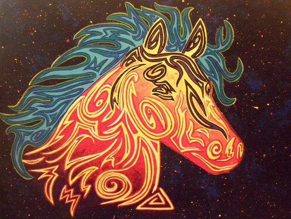 Colorful Native American Tribal Horse Painting by ...