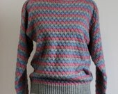 VINTAGE KNIT JUMPER / sweater in blue,  pink and grey