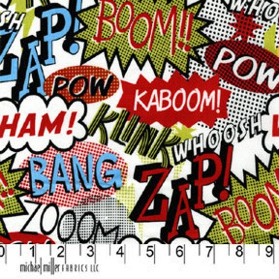 Retro Fabric, Cartoon, Michael Miller, Zap, Art Deco, Multi color, Green, Red, White, Black, fabric by the yard, One Yard, 1 yard