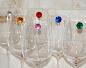 Jewel Drink Tags - Set of 6 - Multi Color - Wine Charms