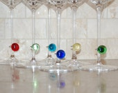 Modern Multicolor Glass Drink Tags - Set of 6 - Wine Charms