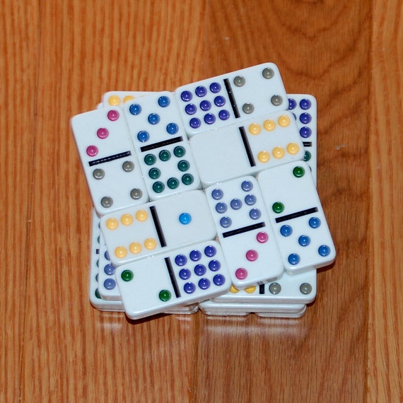 Domino Coasters - Colorful - Set of 4