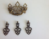 Vintage brass ornate drawer pulls