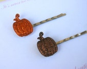 Sparkling Pumpkin Bobby Pins - Halloween and Thanksgiving - Great for Girls of All Ages