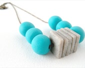 Aqua Blue and Gray Beaded Polymer Clay Necklace, Geometric Squares