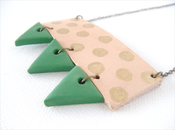One of a Kind, Geometric Leather and Polymer Clay Necklace, Gold Polka Dots and Green Triangles