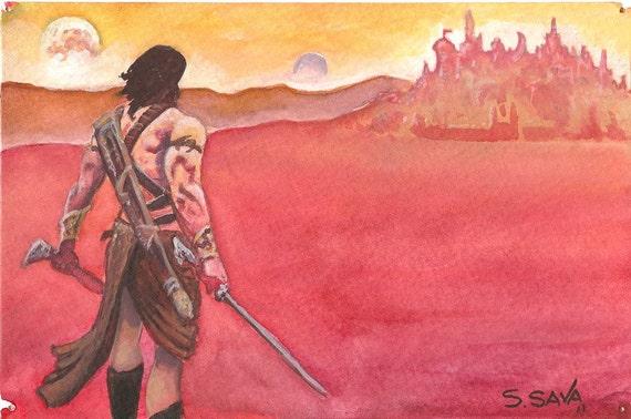 John Carter of Mars Watercolor Painting...