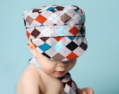 Boys Hat, Tie and Diaper Cover Matching Set - Perfect for Photo Prop, Birthday Party or Other Special Event