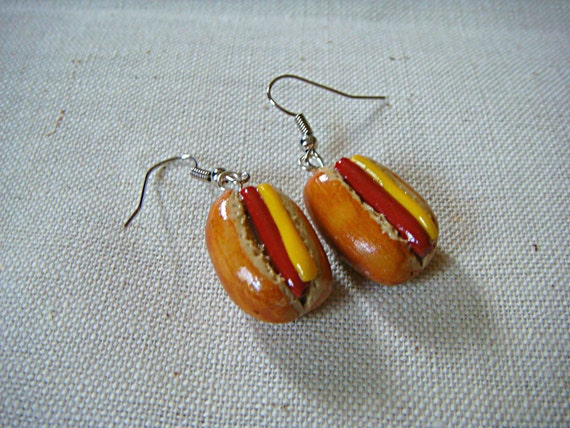 Hot Dogs with Mustard Earrings Polymer Clay