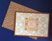 Love You Card with Gold and Blue Elegant Background and the Letter C in Gold with Amber Colored Rhinestones