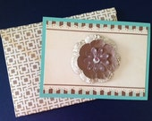 Birthday Card with Scalloped Edge Beige Background, Blue and Brown Stripes and Layered Flower