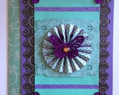 Blank Card Teal, Black and Purple with Glitter Butterfly and Rhinestone