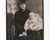 Victorian Cabinet Photo, 1800s: Beautiful Young Mother & Baby w/ Feeding Bottle by A.W. Shackford, Farmington N.H.