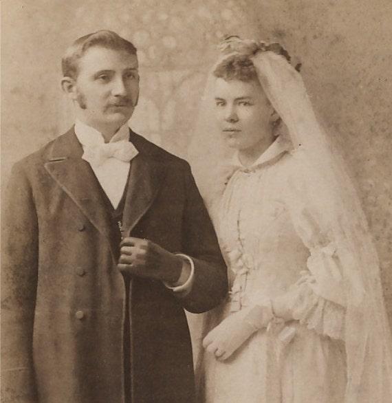 Victorian Cabinet Photo, 1800s: Bride & Groom Wedding Portrait, Baltimore, MD, Bachrach and  Bro. Studio.