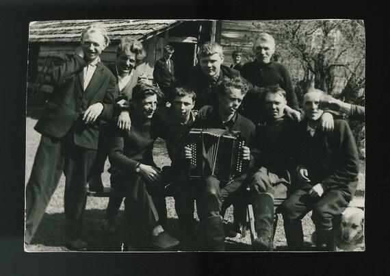 Accordion Player & Revelers, Estonia: Vintage Photo