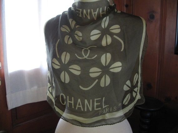 SUMMER SALE Vintage 60s Chanel silk scarf- four leaf clover design with Chanel logo