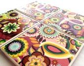 Floral Coasters, Ceramic Coasters, Tile Coasters, Drink Coasters