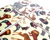 Circus Animals Coasters Set Giraffe Lion Ceramic Tile Drink