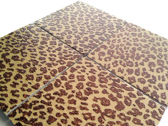 Cheetah Print Coasters Ceramic Set Brown Glitter Drink Tile
