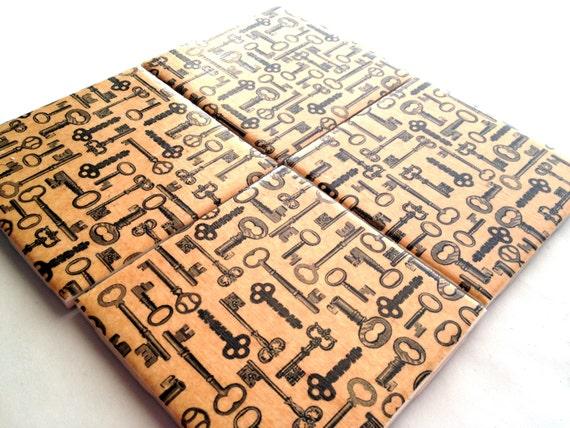 Brown Key Coasters Ceramic Vintage Skeleton Set Tile Drink