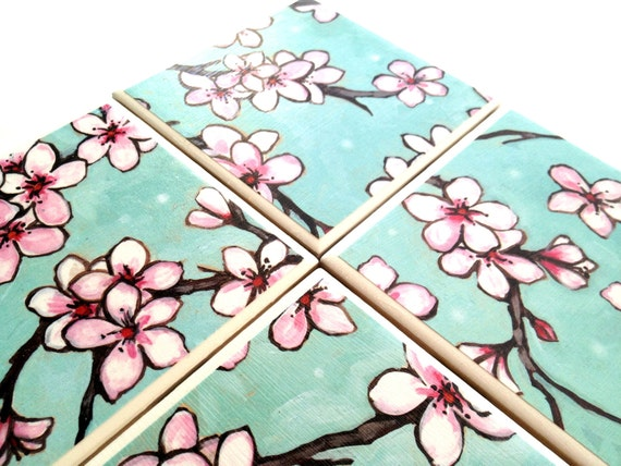 Ceramic Tile Coasters Cherry Blossom Pink Turquoise Sets