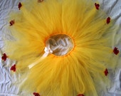 Disney's Belle Inspired Tutu Size 2 Toddler to 3 Toddler in yellow with red rose accents for wedding, flower girl, formal, photography