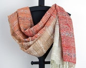 Hand woven scarf in Rose to Ivory (1005)