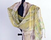Linen Summer Scarf in Natural Beige and Spring Green with additional effects (2014)