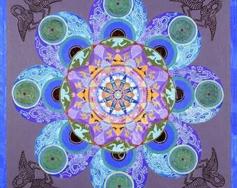 Mandala of Fertility and Birth, Healing Energy Room Decor, Sacred Geometry Art Print on Canvas, Charm Housewarming Gift