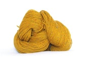 Handspun Merino Wool - 3 Ply - Mustard with small Colorful Dots - 6 ounces ( 170 gr )