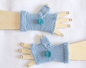 Children  Fingerless Gloves -  Blue - Decorated with lovely felted flowers