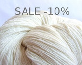 SALE -10%Handspun Merino Wool - 3 Ply - White  ( natural color, undyed ) - 3.15 ounces ( 90 gr )