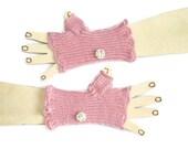 Children  Fingerless Gloves - Pink - with flowered buttons