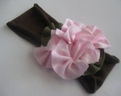 Riley - cotton headband with pink rosettes so pretty