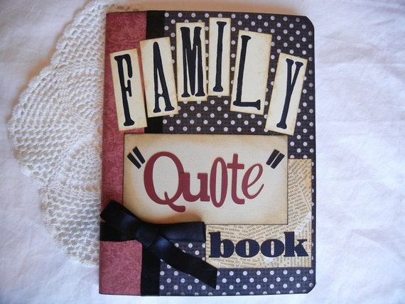Family Quote Book in black and cream polka dots and red binding with black ribbon