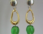 Dangle Earring with Green Stones