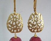 Dangle Earring with Dark Pink Nuggets