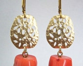 Dangle Earring with Coral Nuggets