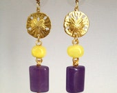 Drop Earring with Buttercup Mineral & Purple Jade