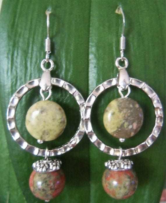 Dangle Earring with unakite stones