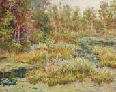 "Northern Marshland, Original Soft Pastel Painting, Landscape Painting, Canadian Art, Fine Art, 12x18"""