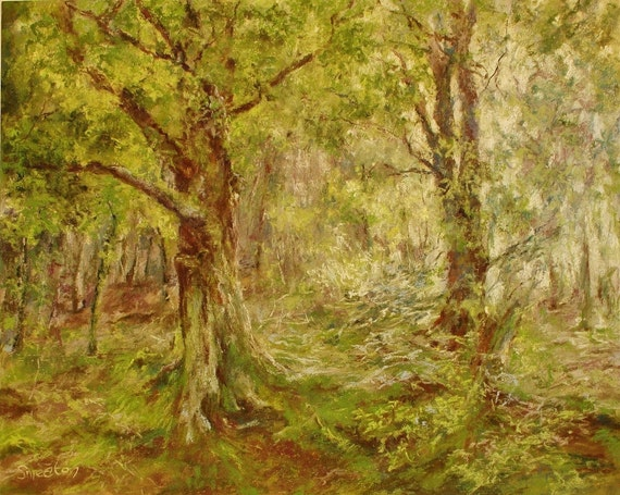 Stepping Into Woodland Light, Original Pastel Painting, Landscape Art, Forest Scenes, Fantasy Art, 16x20""